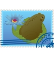 Postage stamp with a frog vector