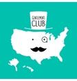 Fun moustache club flat cartoon america map vector