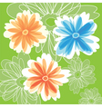 Abstract flowers on green color background vector