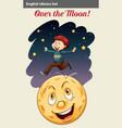 A boy over the moon vector