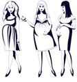 Set of black and white young pregnant women vector
