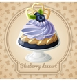Blueberry dessert badge vector