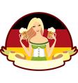 Oktoberfest girl beer label vector
