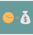 Clock and dollar bag icons time is money vector