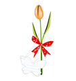 A fresh orange tulip with red ribbon vector