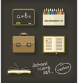 School flat icons book pencil vector