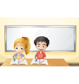 A boy and a girl in front of an empty whiteboard vector