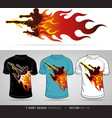 T-shirt design boxing sport with fire vector