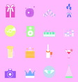 Colorful party icons on pink background vector