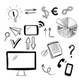 Set with business and web doodles vector