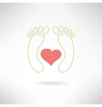 Feet massage sign and feet logo with heart vector