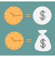 Clock and dollar coin and bag icons time is money vector