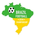 Brazil map in the colors of the flag vector