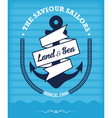 Nautical anchor vintage label on blue vector