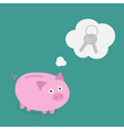Piggy bank dream about key think bubble flat vector