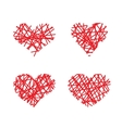 Set of hand drawn lined hearts vector