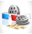 3d glasses with movie ticket and film reel vector