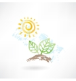 Leafs and sun grunge icon vector