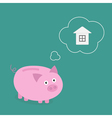 Piggy bank dream about house think bubble flat vector