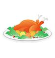 Roasted turkey on dish vector