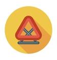 Warning triangle single flat icon vector