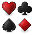 Card suit icons in black and red vector