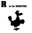 Rooster cartoon silhouette with letter vector