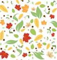 Green leaves floral spring fall seamless pattern vector