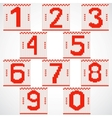 Vintage knitted red numbers set vector