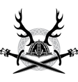 Helmet with antlers and viking swords vector