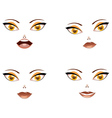 Toon female face with yellow eyes vector