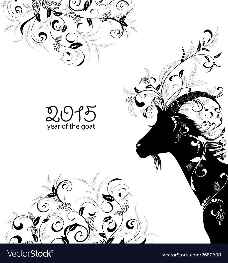 2015 year of the beautiful goat vector | Price: 1 Credit (USD $1)