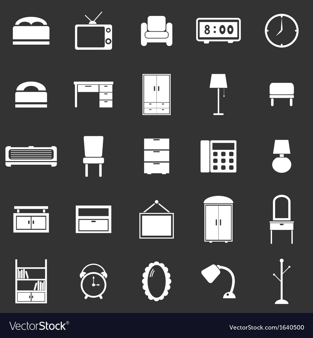 Bedroom icons on black background vector | Price: 1 Credit (USD $1)