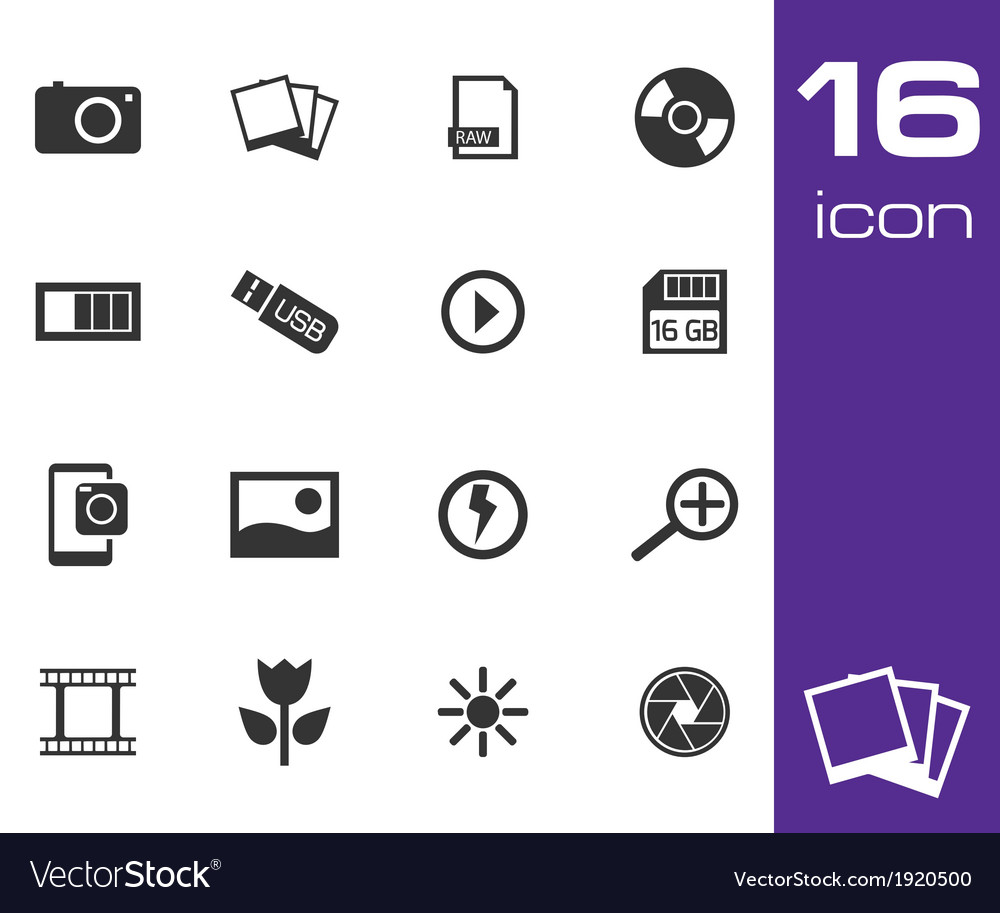 Black photo icon set vector | Price: 1 Credit (USD $1)