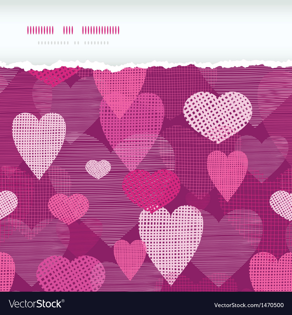 Fabric hearts romantic torn horizontal seamless vector | Price: 1 Credit (USD $1)