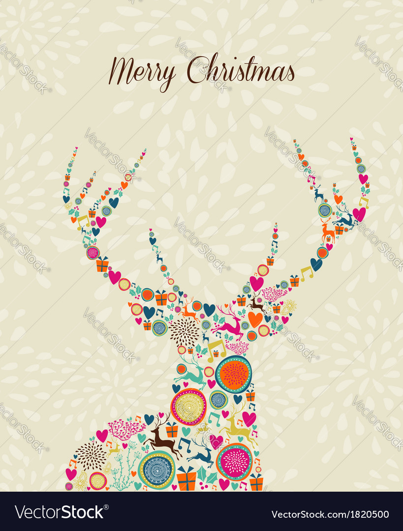 Merry vintage christmas elements reindeer greeting vector | Price: 1 Credit (USD $1)