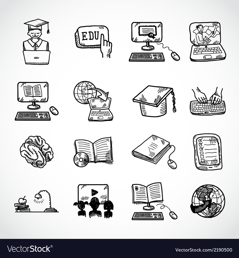 Online education icon sketch vector | Price: 1 Credit (USD $1)