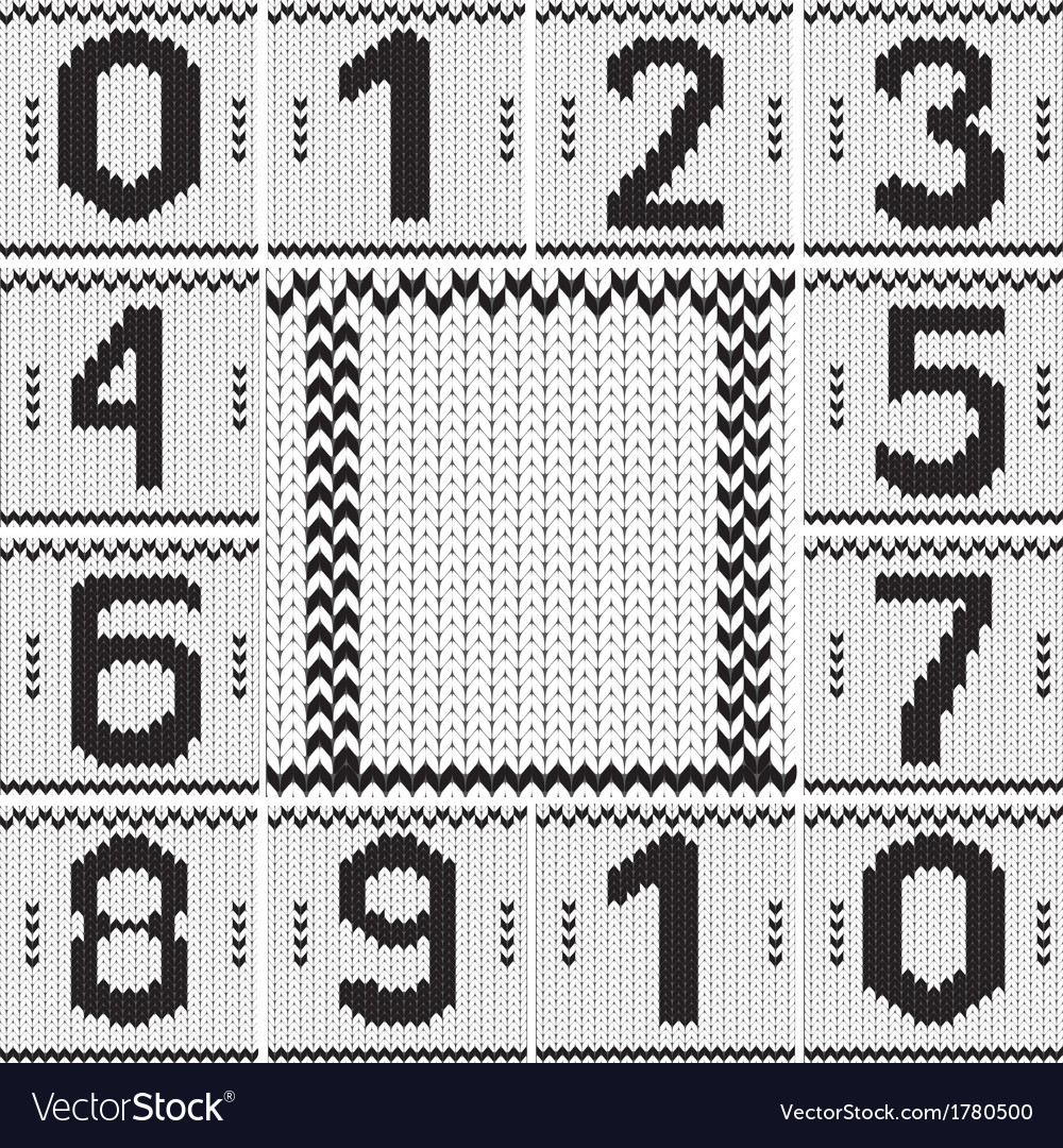 Vintage numbers set and knitted frame background vector   Price: 1 Credit (USD $1)