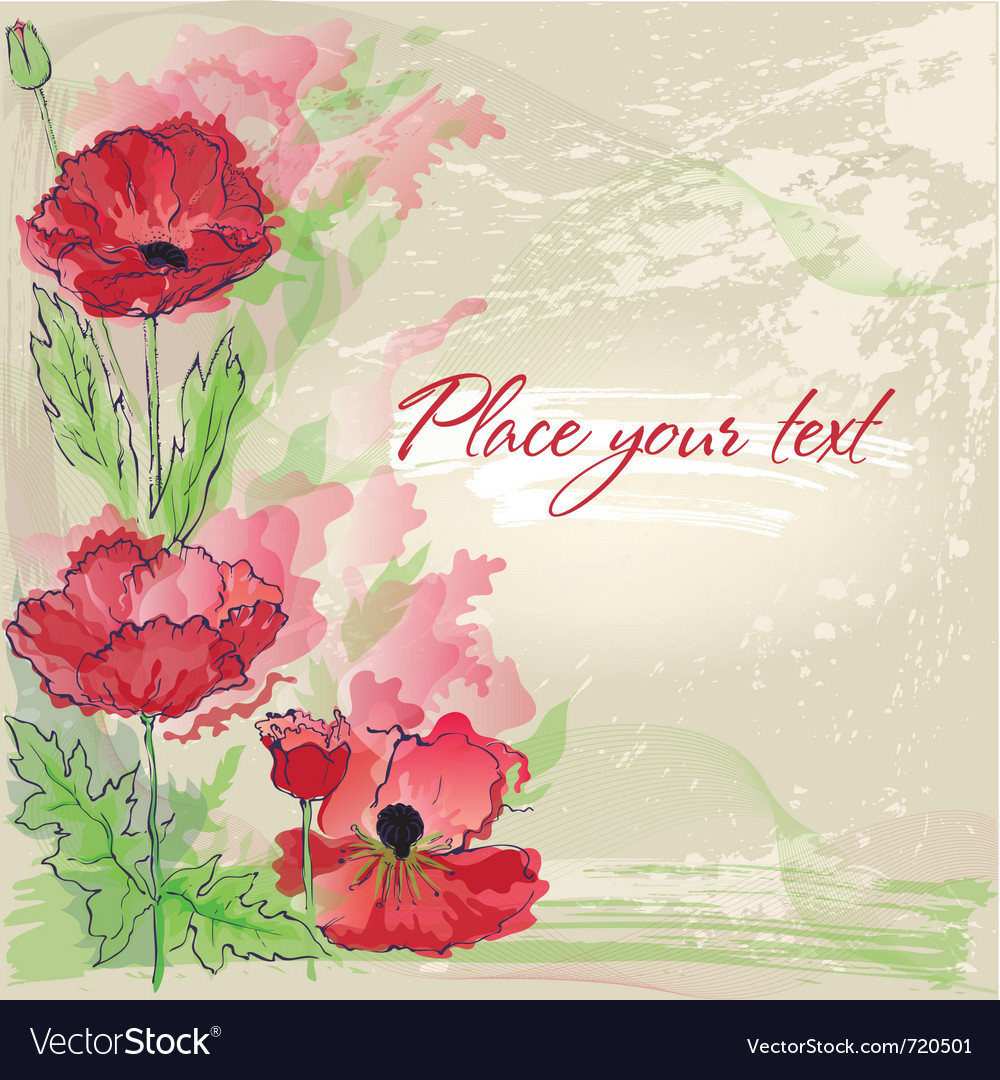 Background with poppies in watercolor effect vector | Price: 1 Credit (USD $1)