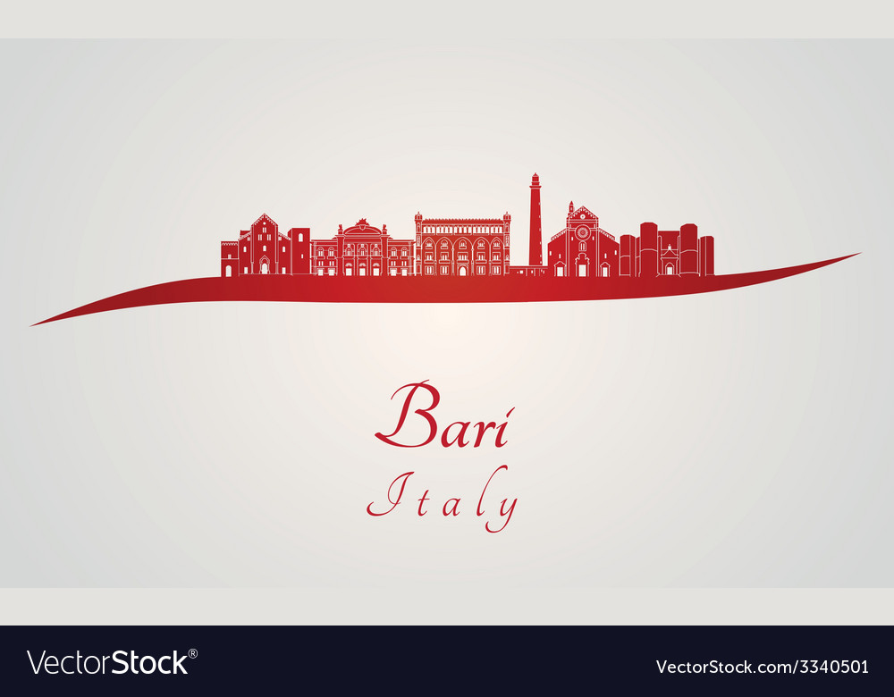 Bari skyline in red vector | Price: 1 Credit (USD $1)