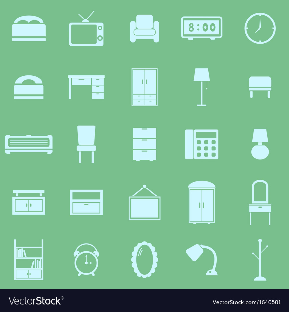 Bedroom color icons on green background vector | Price: 1 Credit (USD $1)