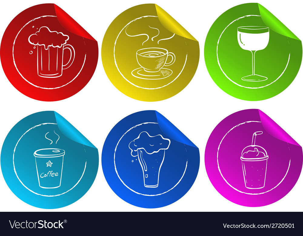 Beverage stickers vector | Price: 1 Credit (USD $1)