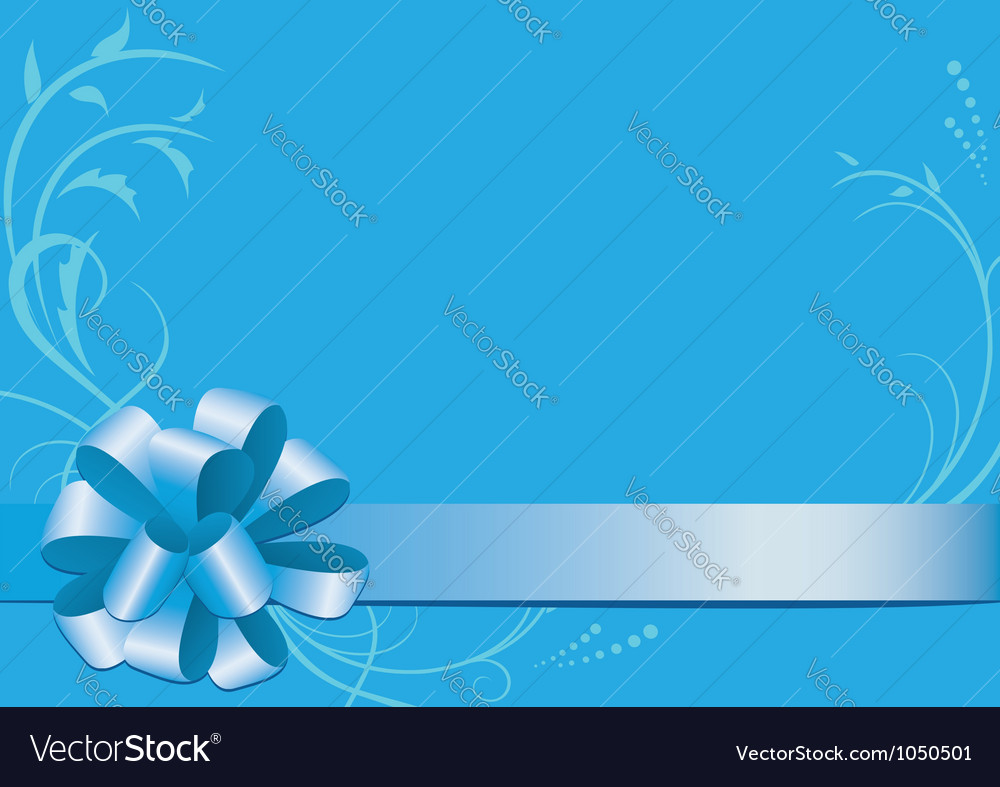 Blue decorative card with bowknot vector