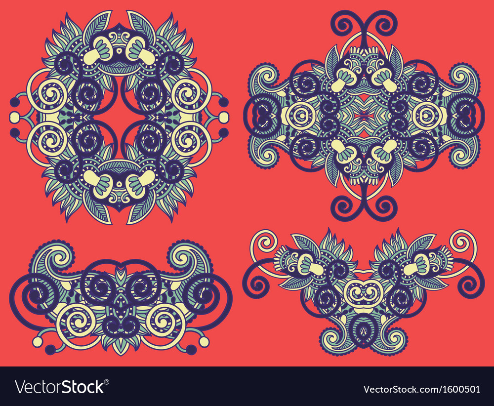 Four ornamental floral adornment vector | Price: 1 Credit (USD $1)