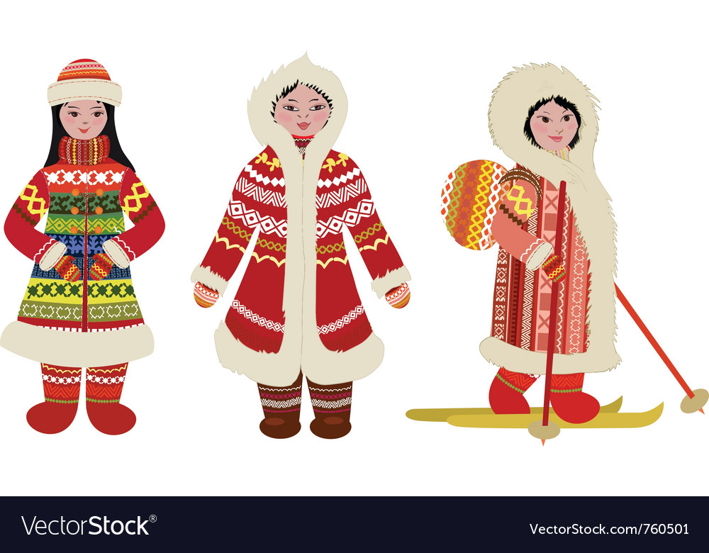 Northern people in costumes vector | Price: 1 Credit (USD $1)