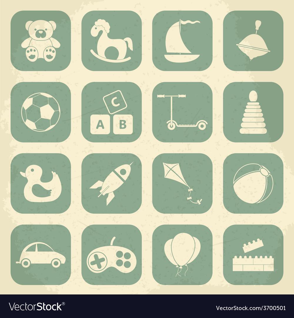 Retro children toys icon set vector | Price: 1 Credit (USD $1)