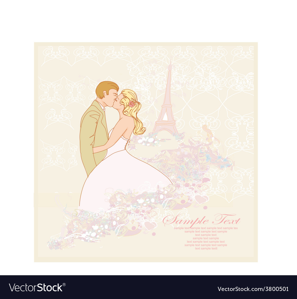 Romantic wedding couple in paris kissing near the vector | Price: 1 Credit (USD $1)