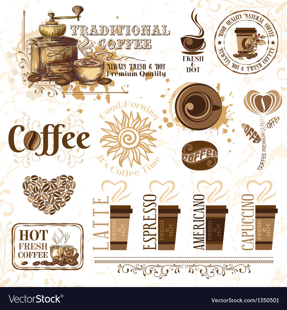 Set of coffee design elements vector | Price: 3 Credit (USD $3)