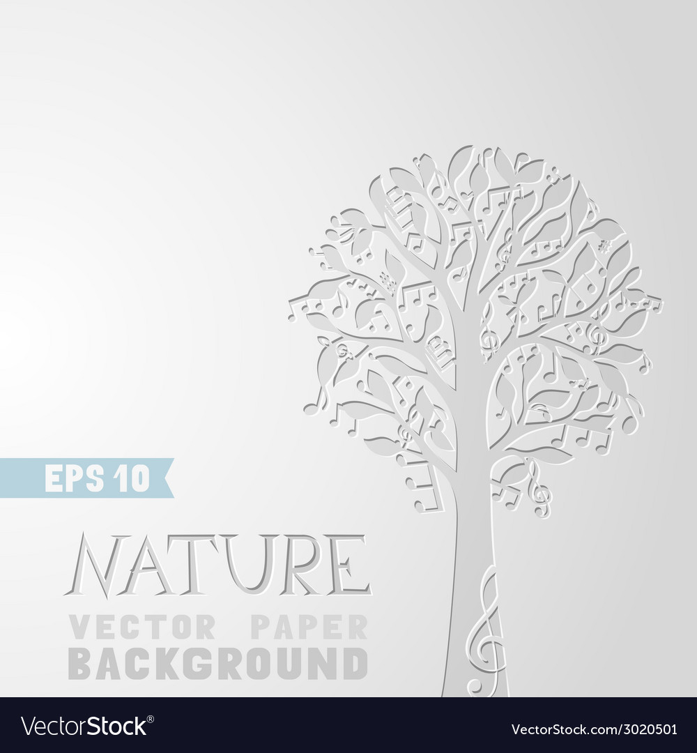 Tree with music notes on paper background vector | Price: 1 Credit (USD $1)