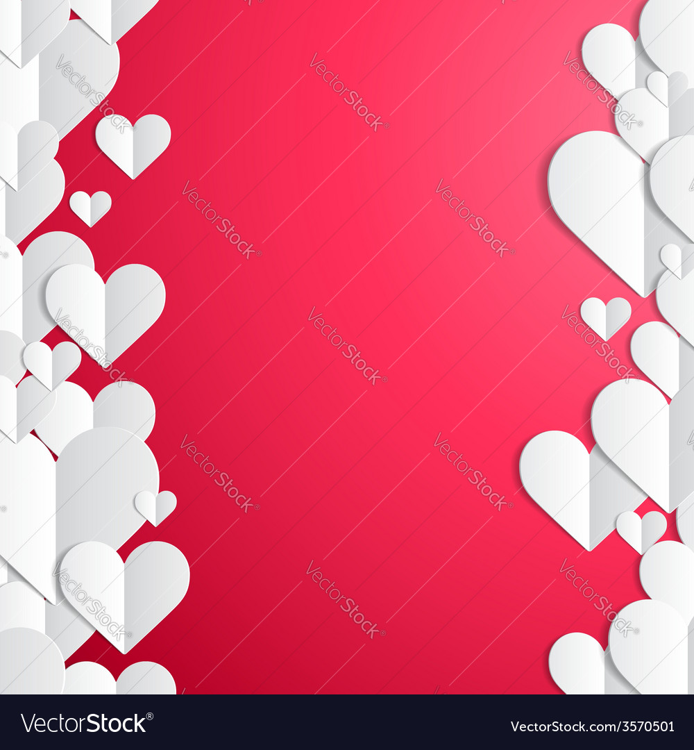 Valentines day frame with lines of paper hearts vector | Price: 1 Credit (USD $1)